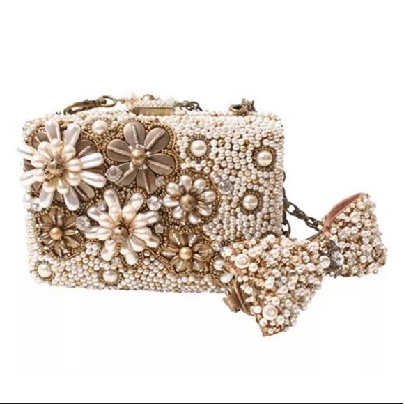 Mary Frances Handbags - Mary Frances Prima Donna Gold Pearl Clutch Purse